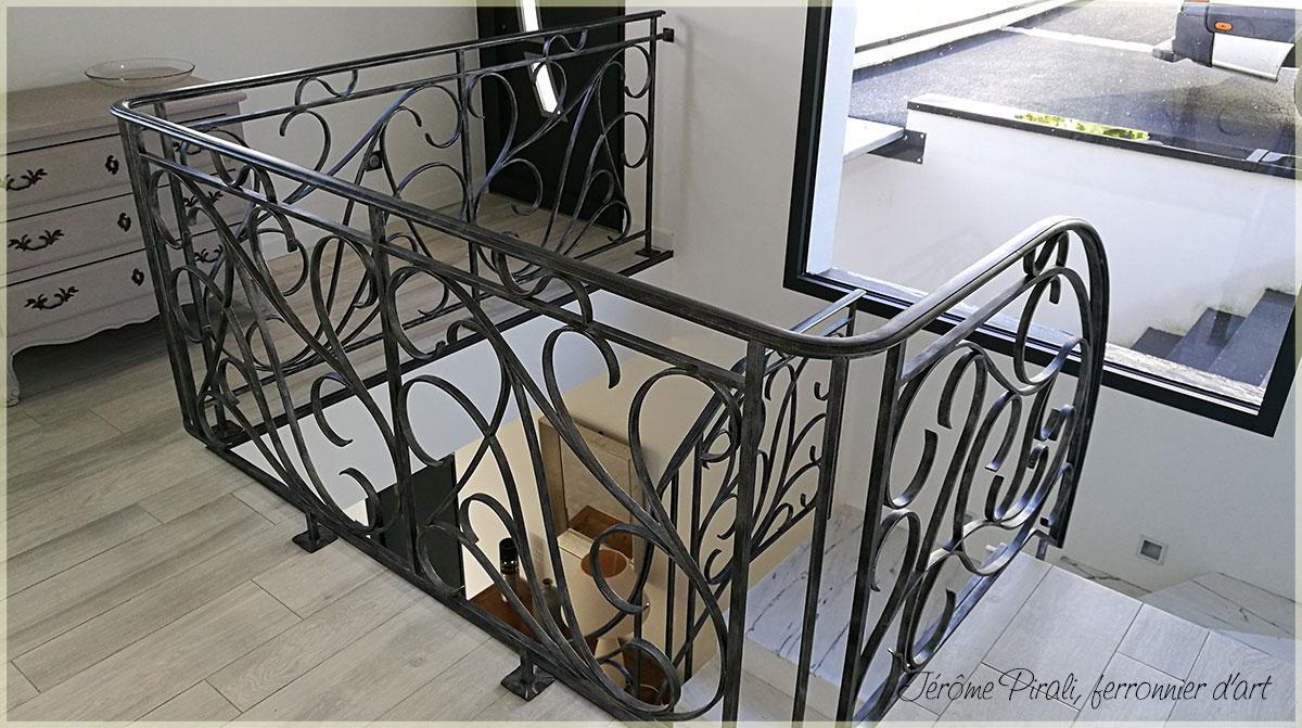 rampe d 39 escalier en fer forg style art nouveau. Black Bedroom Furniture Sets. Home Design Ideas